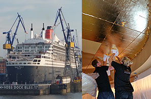 The team travel to Hamburg to work on Cunards QM2