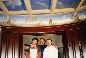 We assist Graham Rust with his ceiling mural in Holland