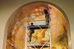 Church mural's faux and trompe l'oeil embellishments