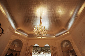 Patinated metal leaf ceiling, antique paint finishes, faux marbling & mineral pearl plasters.